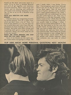 <cite>Flip</cite> (August 1967), Micky Dolenz Talks About, Page 55