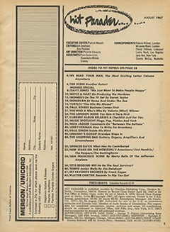 <cite>Hit Parader</cite> (August 1967) table of contents