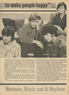 "<cite>Hit Parader</cite> (August 1967), Davy Jones: ""We Just Want to Make People Happy"", Page 09"