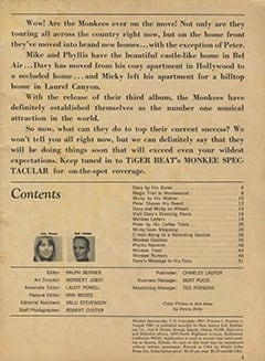 <cite>Monkee Spectacular</cite> (August 1967) table of contents