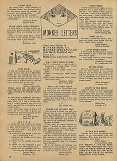 <cite>Monkee Spectacular</cite> (August 1967), Monkee Mail, Page 18