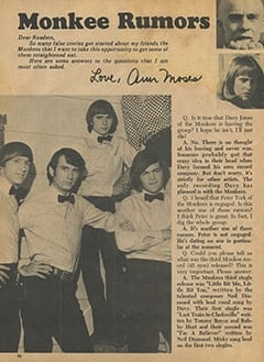 <cite>Monkee Spectacular</cite> (August 1967), Monkee Rumors, Page 46