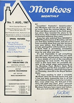 <cite>Monkees Monthly</cite> (August 1967) table of contents