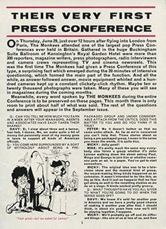 <cite>Monkees Monthly</cite> (August 1967), Their Very First Press Conference, Page 05