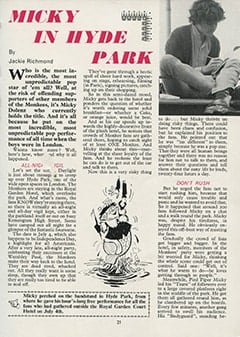 <cite>Monkees Monthly</cite> (August 1967), Micky in Hyde Park, Page 21