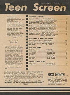 <cite>Teen Screen</cite> (August 1967) table of contents