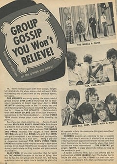 <cite>Teen World</cite> (August 1967), Group Gossip You Won&rsquo;t Believe, Page 20