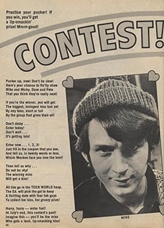 <cite>Teen World</cite> (August 1967), Kiss The Monkees Contest, Page 22