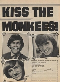 <cite>Teen World</cite> (August 1967), Kiss The Monkees Contest, Page 23