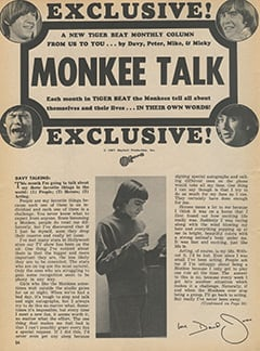 <cite>Tiger Beat</cite> (August 1967), Monkee Talk, Page 54