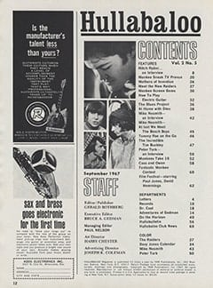<cite>Hullabaloo</cite> (September 1967) table of contents