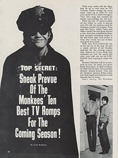 <cite>Hullabaloo</cite> (September 1967), Top Secret: Sneak Prevue of The Monkees&rsquo; Ten Best TV Romps for the Coming Season, Page 20