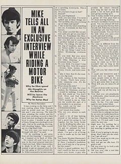 <cite>Hullabaloo</cite> (September 1967), Mike Tells All in an Exclusive Interview While Riding a Motor Bike, Page 42