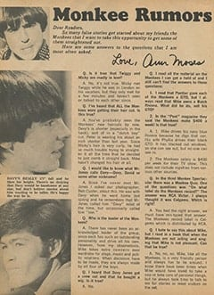 <cite>Monkee Spectacular</cite> (September 1967), Monkee Rumors, Page 24
