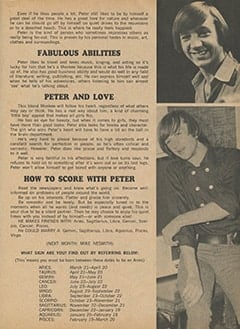<cite>Monkee Spectacular</cite> (September 1967), All About Peter According to Astrology, Page 39