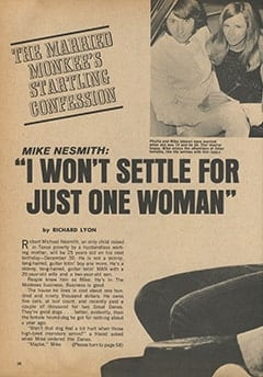 "<cite>Movie Mirror</cite> (September 1967), Mike Nesmith: ""I Won't Settle for Just One Woman"", Page 38"