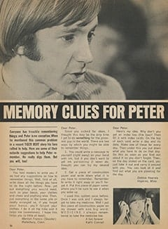 <cite>Tiger Beat</cite> (September 1967), Memory Clues for Peter, Page 36