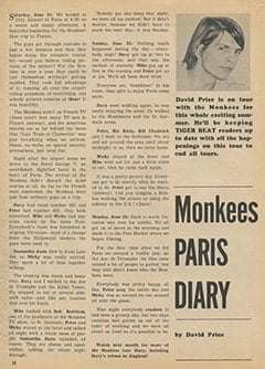 <cite>Tiger Beat</cite> (September 1967), Monkees Paris Diary, Page 38