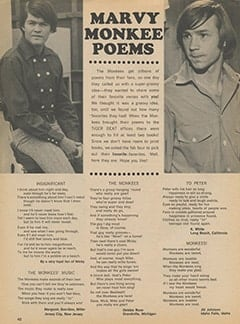 <cite>Tiger Beat</cite> (September 1967), Marvy Monkee Poems, Page 40