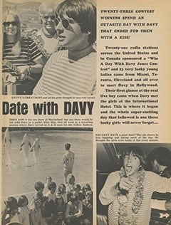<cite>Tiger Beat</cite> (September 1967), C'mon Along on a Dream Date with Davy, Page 45