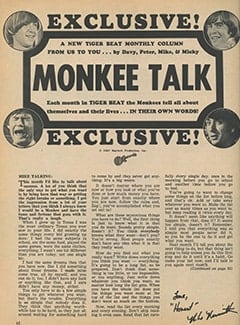 <cite>Tiger Beat</cite> (September 1967), Monkee Talk, Page 62