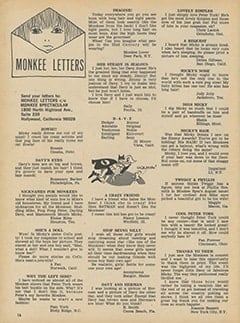 <cite>Monkee Spectacular</cite> (October 1967), Monkee Letters, Page 16