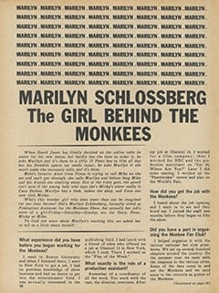 <cite>Monkee Spectacular</cite> (October 1967), Marilyn Schlossberg: The Girl Behind The Monkees, Page 58