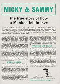 <cite>Monkees Monthly</cite> (October 1967), Micky &amp; Sammy: The True Story of How a Monkee Fell in Love, Page 05