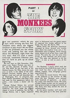 <cite>Monkees Monthly</cite> (October 1967), The Monkees Story (Part 1), Page 11