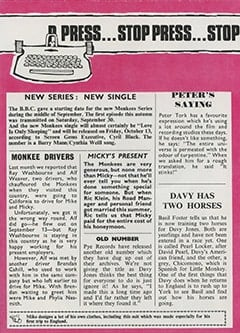 <cite>Monkees Monthly</cite> (October 1967), Stop Press, Page 19