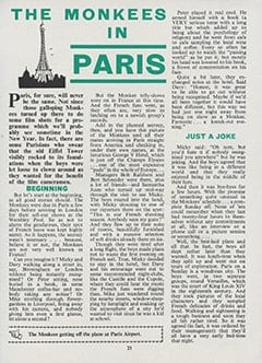 <cite>Monkees Monthly</cite> (October 1967), The Monkees in Paris, Page 21