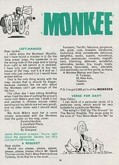 <cite>Monkees Monthly</cite> (October 1967), Monkee Mail, Page 28