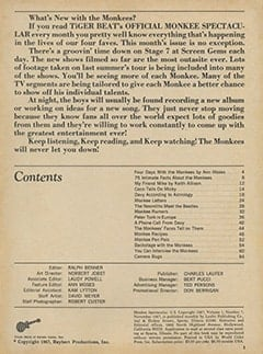 <cite>Monkee Spectacular</cite> (November 1967) table of contents