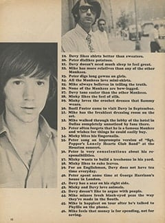 <cite>Monkee Spectacular</cite> (November 1967), 75 Facts About The Monkees, Page 10