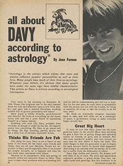 <cite>Monkee Spectacular</cite> (November 1967), All About Davy According to Astrology, Page 18