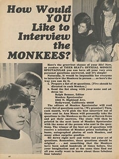 <cite>Monkee Spectacular</cite> (November 1967), How Would You Like to Interview The Monkees?, Page 60