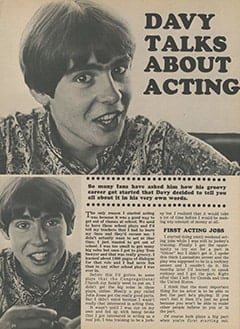 <cite>Tiger Beat</cite> (November 1967), Davy Talks About Acting, Page 24