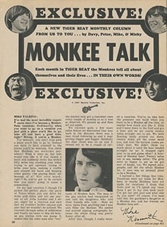 <cite>Tiger Beat</cite> (November 1967), Monkee Talk, Page 58