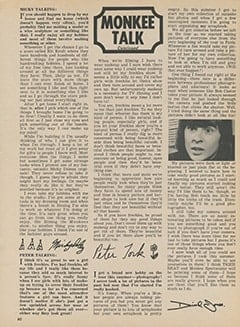 <cite>Tiger Beat</cite> (November 1967), Monkee Talk, Page 60