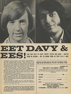 <cite>16</cite> (December 1967), You Can Meet Davy & The Monkees, Page 57