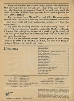 <cite>Monkee Spectacular</cite> (December 1967) table of contents