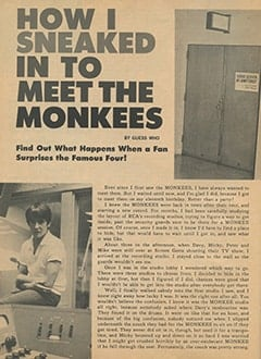 <cite>Monkee Spectacular</cite> (December 1967), How I Sneaked in to Meet The Monkees, Page 14