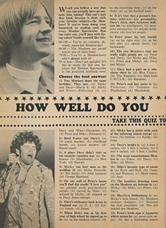 <cite>Monkee Spectacular</cite> (December 1967), How Well Do You Know The Monkees?, Page 20