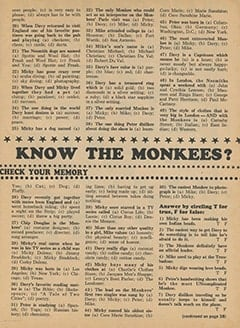 <cite>Monkee Spectacular</cite> (December 1967), How Well Do You Know The Monkees?, Page 21