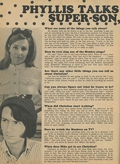 <cite>Monkee Spectacular</cite> (December 1967), Phyllis Talks About Their Super-Son Christian, Page 32