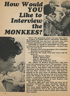 <cite>Monkee Spectacular</cite> (December 1967), How Would You Like to Interview The Monkees?, Page 36