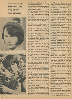 <cite>Monkee Spectacular</cite> (December 1967), How Well Do You Know The Monkees?, Page 38