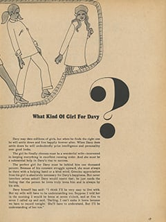 <cite>Tiger Beat Presents Davy Jones</cite> (December 1967), Davy & Girls, Page 17