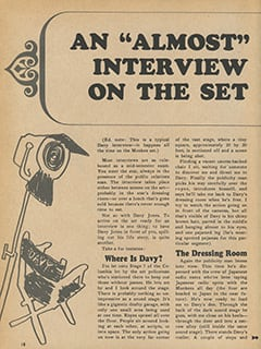 "<cite>Tiger Beat Presents Davy Jones</cite> (December 1967), An ""Almost"" Interview on the Set, Page 18"