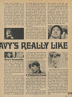 <cite>Tiger Beat Presents Davy Jones</cite> (December 1967), What Davy's Really Like, Page 23